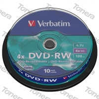 VERBATIM, DVD-RW, 10 PACK , cake box, 4x, 4.7 GB, 43552, DataLife PLUS, Scratch Resistant