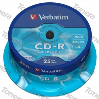 VERBATIM, CD-R, 25 PACK , cake box, 52x, 700MB, 43432, DataLife, Extra Protection