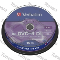 VERBATIM, DVD+R Double Layer, 10 PACK , SPINDLE, 8x, 8.5 GB,, 43666, Matte Silver