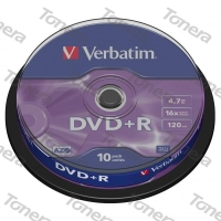VERBATIM, DVD+R, 10 PACK , cake box, 16x, 4.7 GB, 43498, DataLife PLUS,