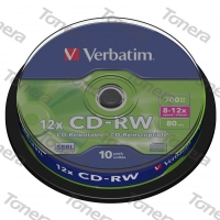 VERBATIM, CD-RW, 10 PACK , cake box, 8x-12x, 700MB, 43480, DataLife PLUS, Scratch Resistan