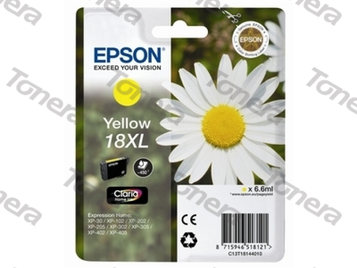 Epson T1814, Typ 18XL Yellow originální cartridge 6,6ml,450s