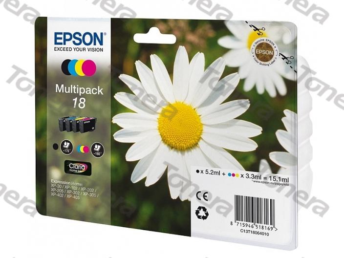 Epson T1806, Typ 18 set Black+C+M+Y originální cartridge 1*5,2ml 3*3,3ml,1x175s+3x180s